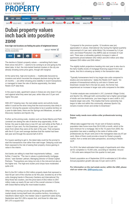 Dubai property values inch back into positive zone - MAG Property